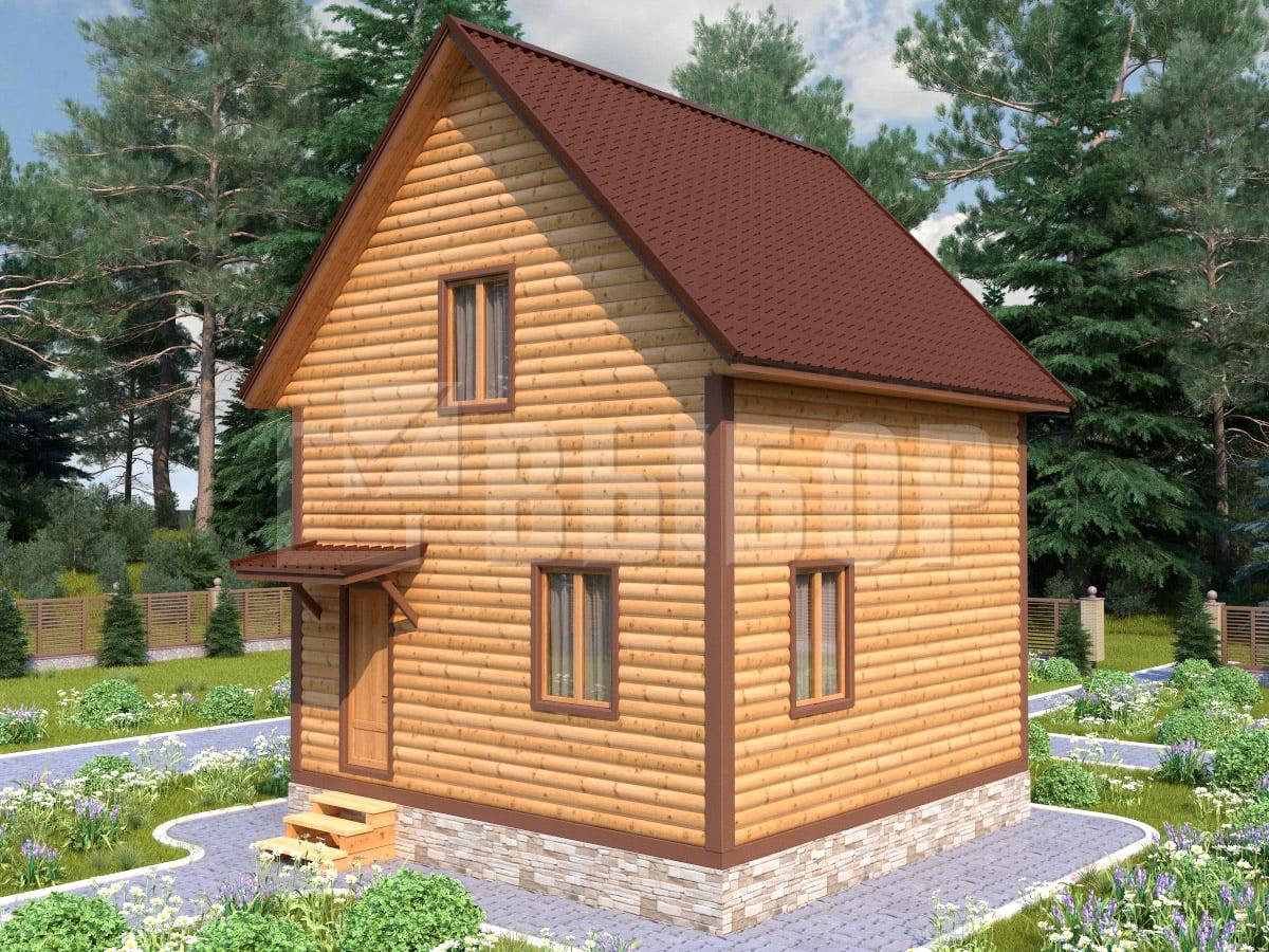 Полутораэтажный каркасный дом 6x6 площадью 72 кв.м с прямой крышей. Проект 201, цена от 452 000 руб.